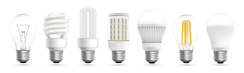 Light bulb evolution realistic effect vector