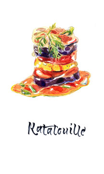 Ratatouille - traditional French Provencal vegetable dish cooked in oven. Diet vegetarian vegan food