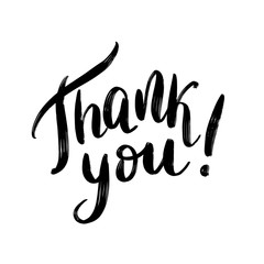 Thank you. Hand Lettering word. Handwritten modern brush typography sign. Black and white. Vector illustration