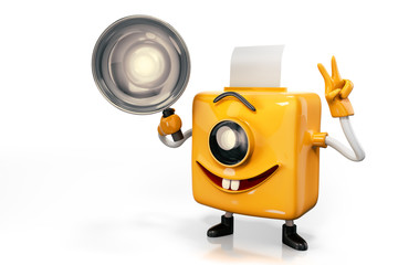 3d rendering of Photo Booth Man character's smiling and handle a camera lamp in right hand and show V sign in left hand, isolated on white background with clipping paths.