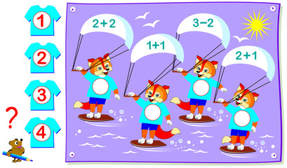 Educational page with exercises for children on addition and subtraction. Need to solve examples and write the numbers on the T-shirts of the competitors. Vector cartoon image.