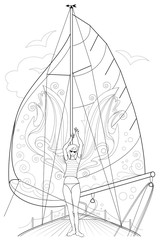 Black and white page for coloring. Fantasy drawing of beautiful fairy dancing tango on a board of sailboat. Worksheet for children and adults. Black and white vector image.