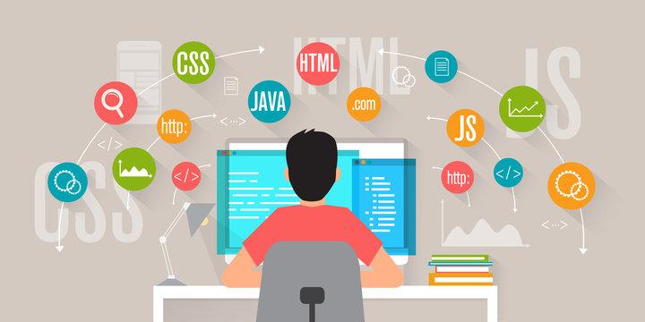 Front End Development, web application, website creating concept. Programmer coding and programming. Flat vector illustration.