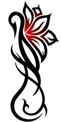 Swan flower tribal tattoo on white background