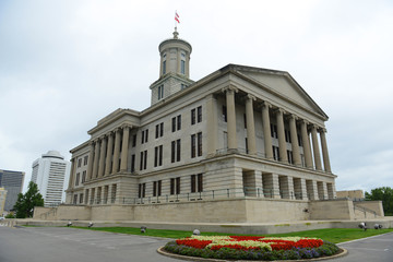 Tennessee State Capitol, Nashville, Tennessee, USA. This building, built with Greek Revival style in 1845, is now the home of Tennessee legislature and governors office.