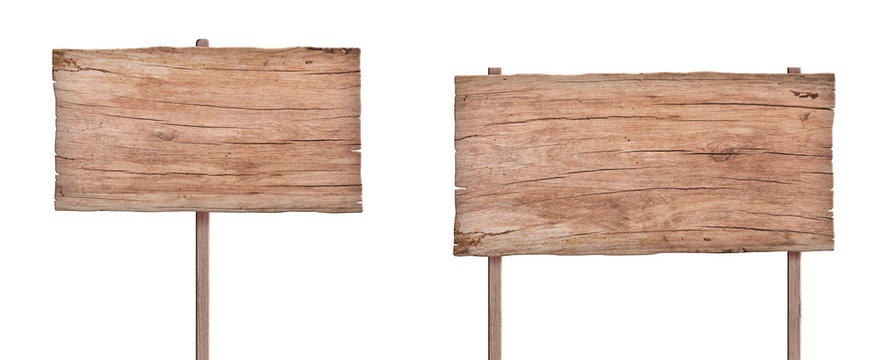 old nature wood sign isolated on white background 4