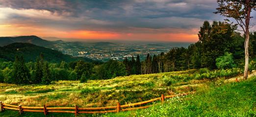 Fototapeten Gebirge View for Równica peak in Beskidy mountains