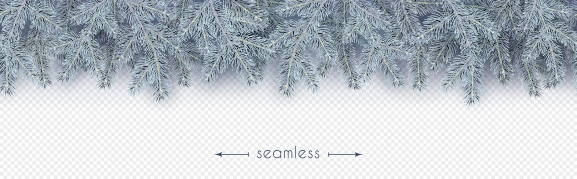 Christmas, New Year, Winter border with realistic branches of Christmas tree in the frost