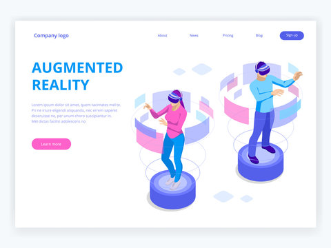 Isometric Man and woman wearing virtual reality goggles. Augmented realty concept. Man wearing goggle headset with touching vr interface. Into virtual reality world. Future technology