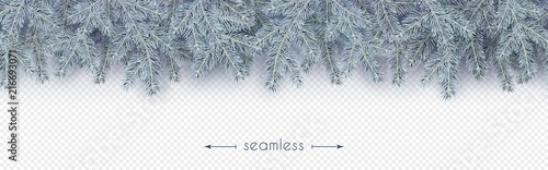 christmas new year winter border with realistic branches of christmas tree in the frost
