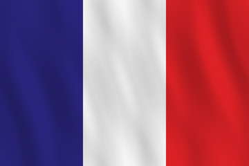 France flag with waving effect, official proportion.