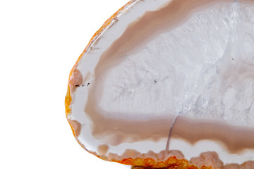 Macro mineral orange agate in crystals on white background