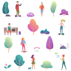 Summer people activity in the park icons set. Modern gradient flat design vector illustration.
