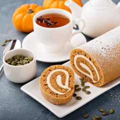 Fall dessert pumpkin roll with cream cheese