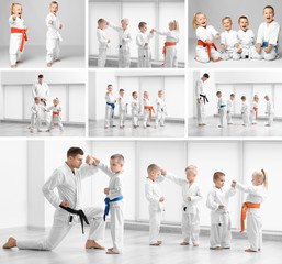 Set with instructor and little kids practicing karate in dojo