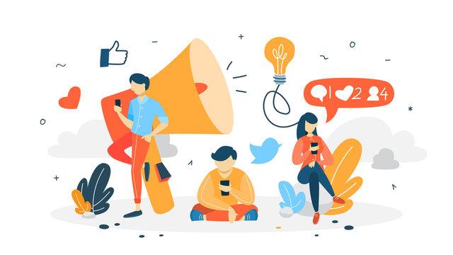 Follow concept illustration