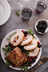 Roasted pork with apple filling