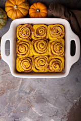 Pumpkin cinnamon rolls with chocolate