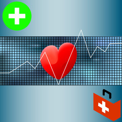 Healthcare vector medical background with white heart cardiogram. Vector cardiology concept with pulse rate diagram.