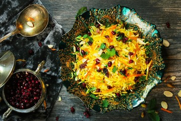 Persian Jeweled Rice / Iranian Pilaf or Pulao overhead view
