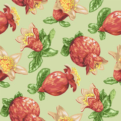 Seamless pattern for textile with blooming pomegranate fruits in vector