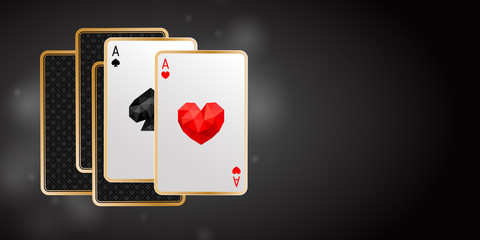 Banner with two aces in five playing cards. One pair. Winning poker hand on black background