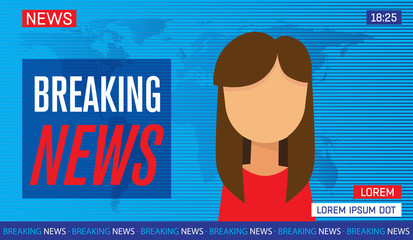 newscaster woman reporting tv news sitting in a studio, breaking news on tv, flat vector illustration