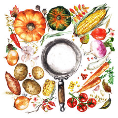 Autumn Vegetables. Watercolor Illustrations.