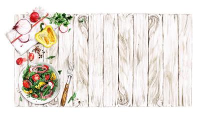 Foto op Plexiglas Waterverf Illustraties Fresh Salad. Watercolor Illustrations.