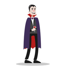 Handsome man in a vampire costume