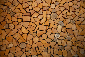 Poster Firewood texture wall firewood , Background of dry chopped firewood logs in a pile