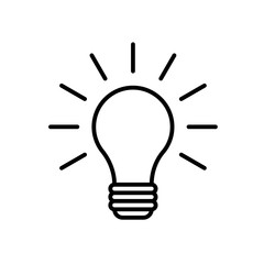 Lightbulb icon. Outline Icon Linear Style