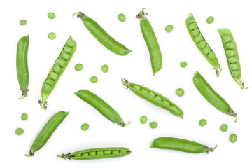 Fresh green pea pod isolated on white background. Top view. Flat lay pattern Wall mural