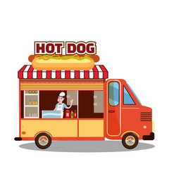 Street food truck, van. Fast food delivery. Fast food car with a big Hot Dog on a white background. Cartoon style, vector, isolated