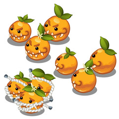 Trapped fancy monsters in the form of a scary toothy oranges isolated on a white background. Vector illustration.