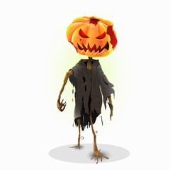 Horror halloween pumpkin character