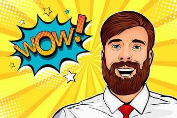 Wow pop art male hipster face. Young surprised man with beard and open mouth Wow speech bubble. Vector colorful illustration in retro comic style.