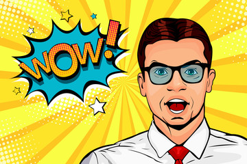 Wow pop art male face. Young surprised man in glasses with open mouth and Wow speech bubble. Vector colorful illustration in retro comic style.