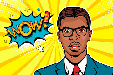 Wow pop art male face. Young afro american surprised man in glasses with open mouth and Wow speech bubble. Vector colorful illustration in retro comic style.