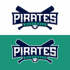 Modern professional vector emblem pirates for baseball in green theme