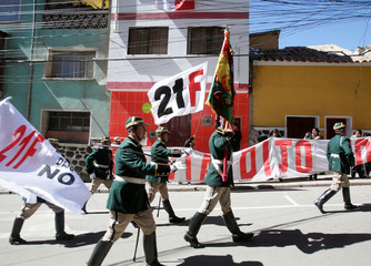 Anti-Morales re-election protest during Bolivia's 193rd independence anniversary ceremony in Potosi