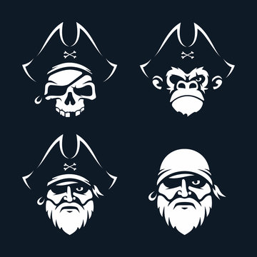 Modern professional vector set emblems pirates in black theme