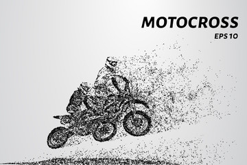Motocross race of two athletes. Vector illustration of Motorsport
