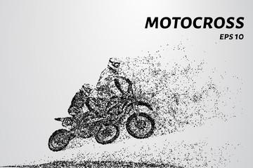 Motocross race of two athletes. Vector illustration of Motorsport