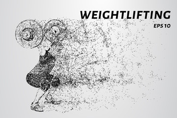 The weightlifter raised the bar above his head. Weightlifter of particles.