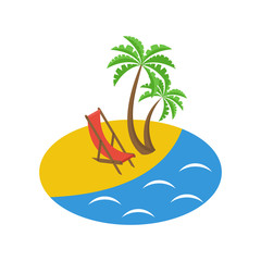 Tropical island with palms. Ocean shore beach and chair. Vector illustration flat design. Isolated on white background. Summer vacation.