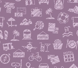 Travel, vacation, Hiking, leisure, seamless pattern, pencil shading, purple, color, vector. Different types of holidays and ways of travelling.