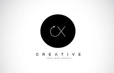 CX C X Logo Design with Black and White Creative Text Letter Vector.