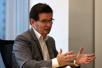 Fabio Januario, CEO of Brazilian conglomerate Odebrecht SA, gestures during an interview with Reuters in Sao Paulo