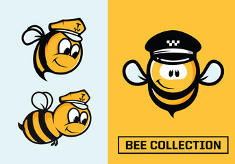 Modern professional vector set emblems bee in yellow theme
